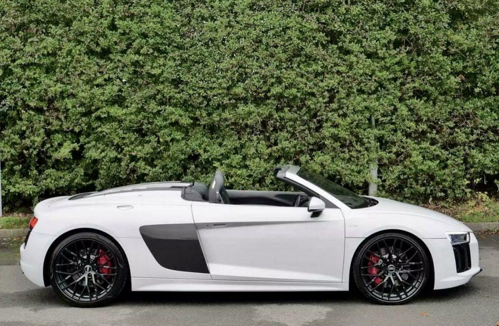 White Audi Spyder recently tuned